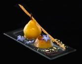 Flan de Foie Gras y Peras Olivier Falchi Sofitel fotografía de gastronomía