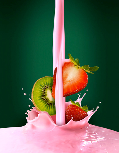 Splash yoghurt photography